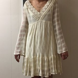 Free people cream lacy dress with cutout